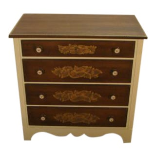 Hitchcock Solid Maple Paint Decorated Chest of Drawers For Sale