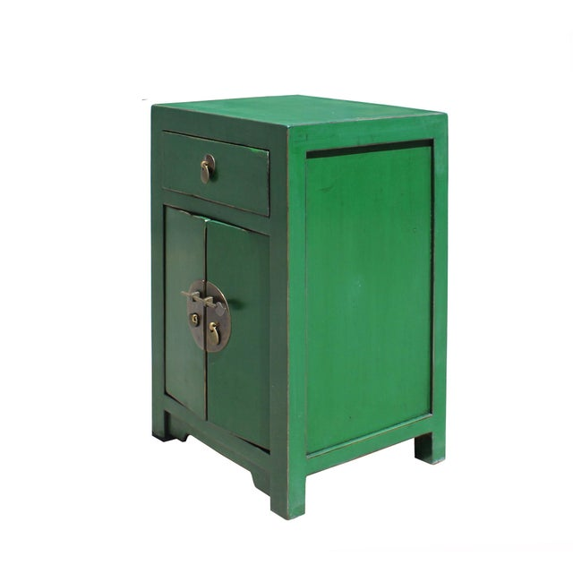 This is a handmade Chinese oriental end table nightstand with a drawer and two doors. The surface is finished with minor...