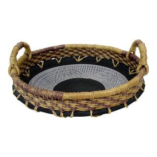 Woven Fiber & Ceramic Centerpiece Bowl For Sale