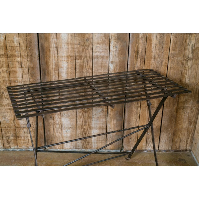 French Iron Folding Table with Metal Slat Top, circa 1920 For Sale - Image 4 of 5