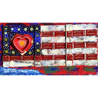 Konstantin Bokov, Flag, Found Art Collage on Wood, Signed and Dated For Sale