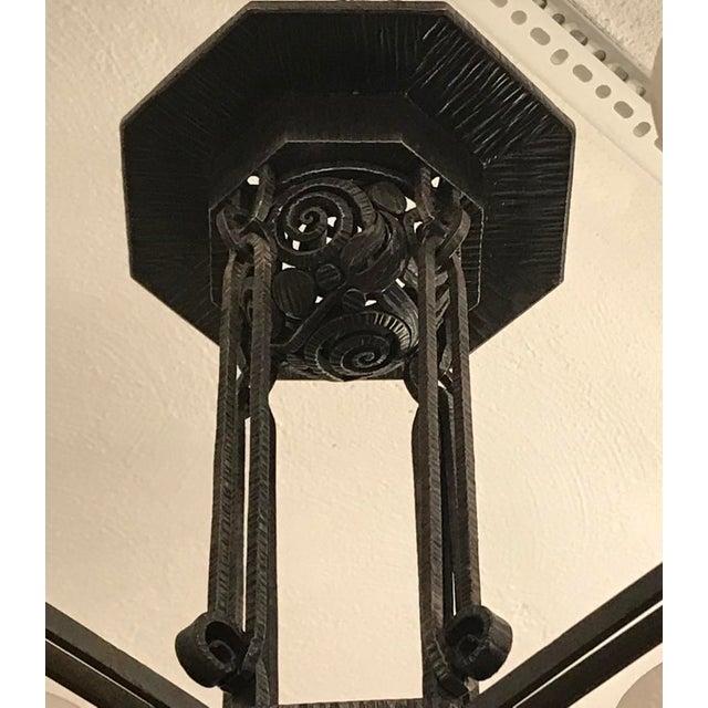 Black Edgar Brandt Style French Art Deco Chandelier For Sale - Image 8 of 12