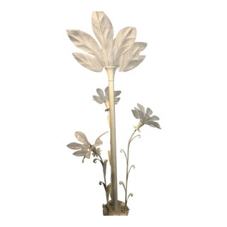 Vintage Late 20th Century Post Modern Plant Floor Lamp With Large Frosted Acrylic Leaves by Harris Industries For Sale