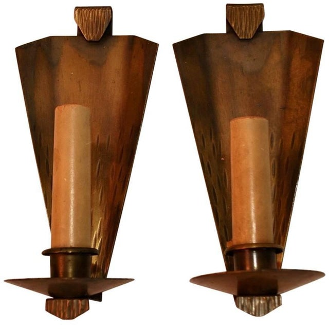 Roycroft Arts & Crafts Copper Sconces Signed Roycroft - A Pair For Sale - Image 4 of 4