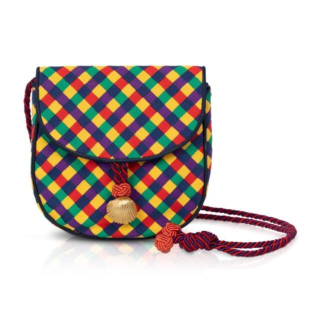 Vintage Bottega Veneta Colorful Ribbon Gold Shell Crossbody Bag For Sale In Miami - Image 6 of 6