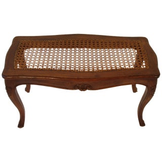 1950s Carved Wood Caned Seated Bench For Sale