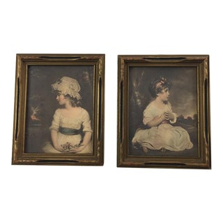 Antique Joshua Reynolds Portraits of Young Girls Vintage Wood Frames - a Pair For Sale