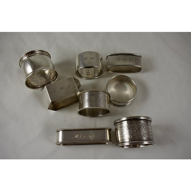 Antique Sterling Silver Napkin Rings, a Mixed S/8 For Sale In Philadelphia - Image 6 of 9