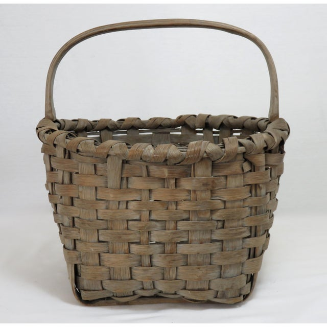 1900s Country Style Gray Basket For Sale - Image 9 of 13