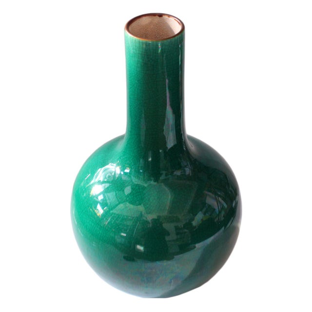 Late 19th Century Green Crackle Vase - Image 2 of 2