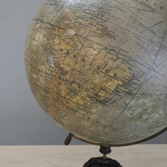 Early 19th Century Antique French Paper MacheÕ World Globe on Painted Cast Iron Stand For Sale - Image 5 of 11