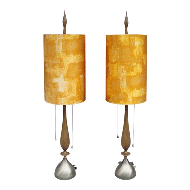 Pair of Walnut With Brass Trim Table Lamps For Sale