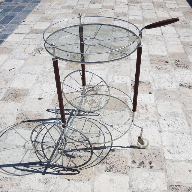 Ultra Charming Rolling Cocktail Trolley Cart For Sale In Los Angeles - Image 6 of 6