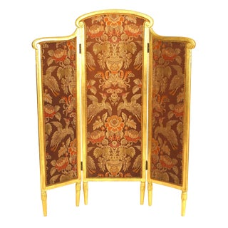 French Art Deco Gilt-Wood Folding Screen For Sale