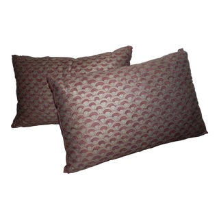 Red & Silver Fortuny Canestrelli Pillows - A Pair