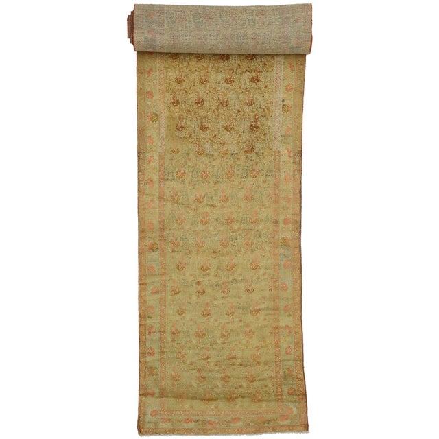 Antique Persian Mahal Long Persian Carpet Runner - 03'09 X 28'04 For Sale - Image 10 of 10