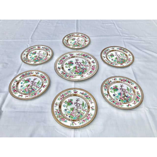 """Tea Sandwich Set of 6 Hand Painted Porcelain """"Indian Tree"""" Royal Doulton Plates Circa 1930. Excellent condition based on..."""