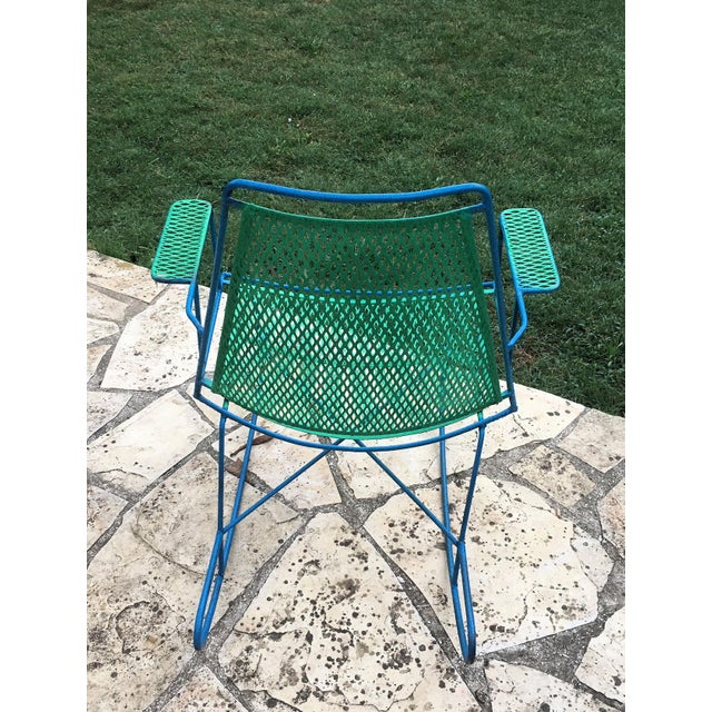 Mid-Century Modern Vintage Mid Century Iron Rocking Chair For Sale - Image 3 of 4