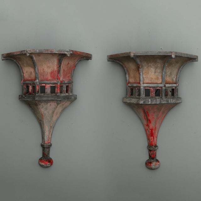 Circa 1890s pair of very large French zinc finials with great form and details and original gray and red worn painted...