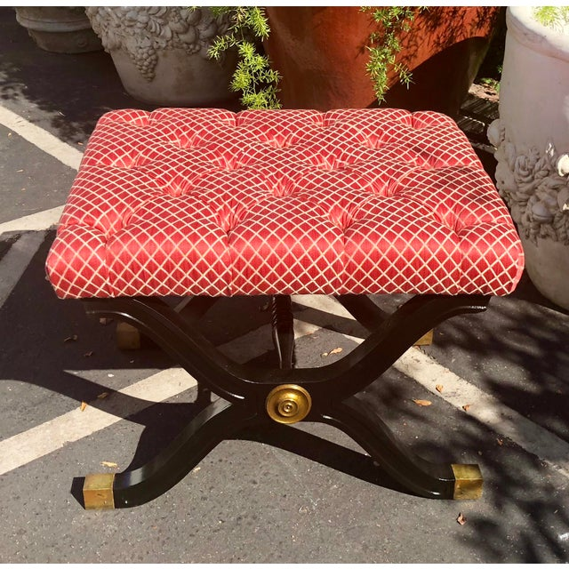 Hollywood Regency Style X Frame Ottoman Footstool Bench For Sale In Los Angeles - Image 6 of 6