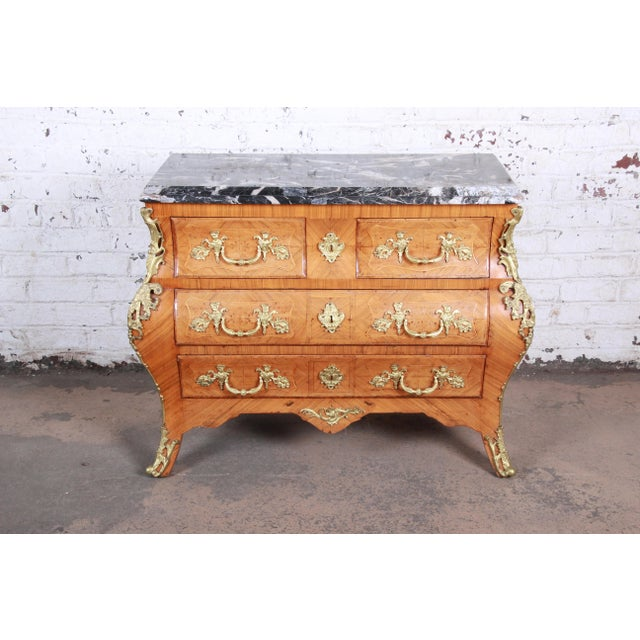 French Louis XV Style Inlaid Mahogany Marble Top Bombay Chest For Sale - Image 13 of 13