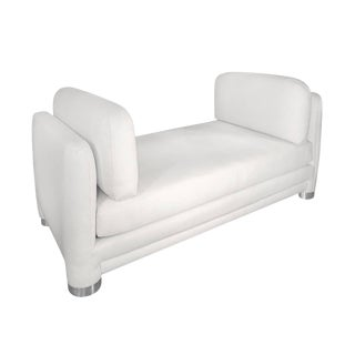 1970s White Daybed With Round Chrome Legs For Sale