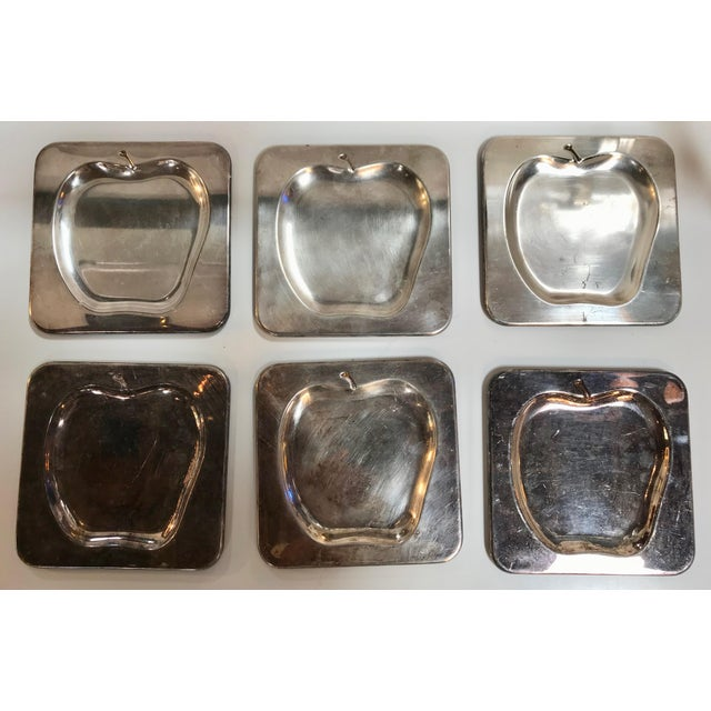Chrome 1970s Vintage Italian Chrome Square Cocktail Plates - Set of 6 For Sale - Image 8 of 8
