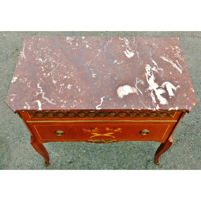 19th Century French Bronze Inlaid Marble Top Commode For Sale - Image 10 of 11