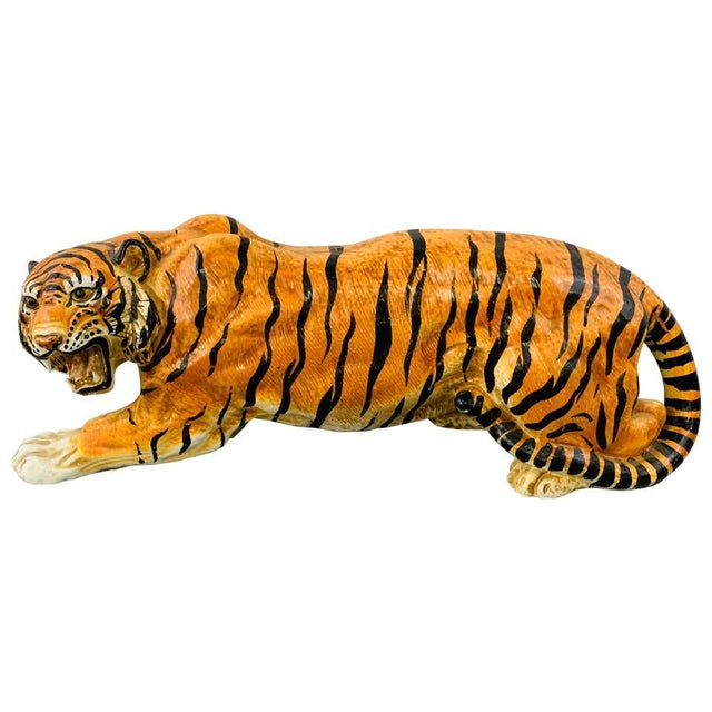 Midcentury Italian Terracotta Tiger Statue or Sculpture For Sale - Image 12 of 12