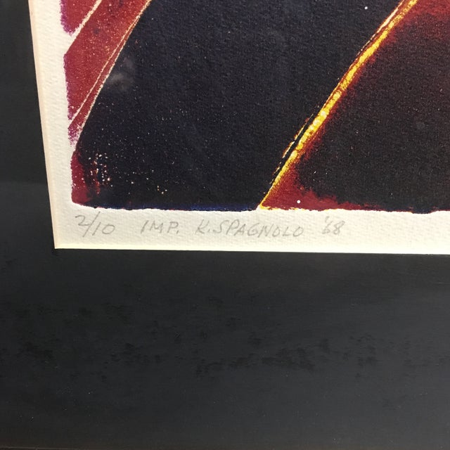 """Abstract 1968 """"Surge II"""" Etching by Lucile H. Sanders, Framed For Sale - Image 3 of 8"""