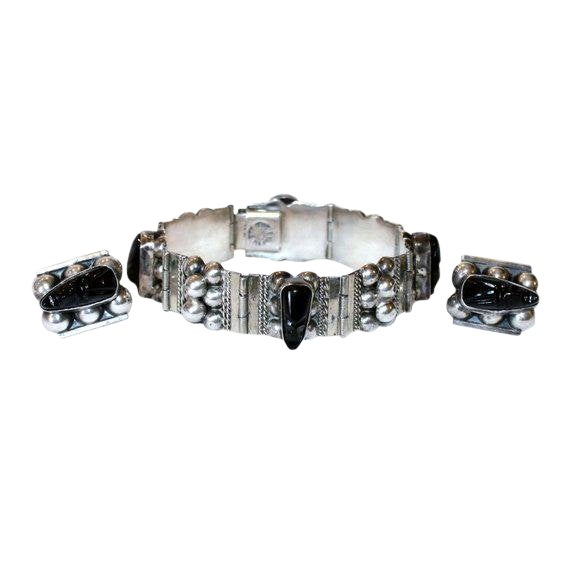 Sterling and Onyx Mask Bracelet and Earring Set, C.1940's For Sale