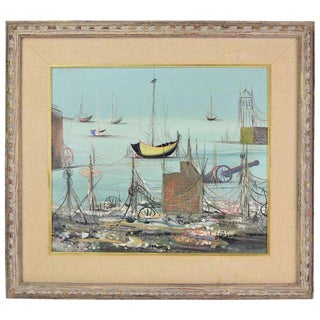 "Vintage Mid-Century Surrealist ""Decrepit Port Scene"" Oil Painting Signed G. Russo For Sale"