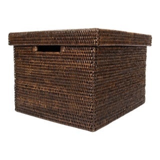 Artifacts Rattan Lidded Storage Box - Espresso For Sale