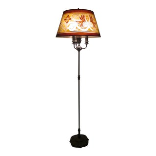 1920s Rembrandt Signed Floor Lamp With Art Deco Screen Mesh Shade and Gorgeously Detailed Metal Base For Sale