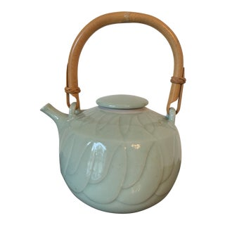 Molly Cowgill Carved Porcelain Teapot For Sale