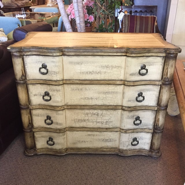 Baers Antique White Crackle Paint Four Drawer Chest - Image 2 of 6