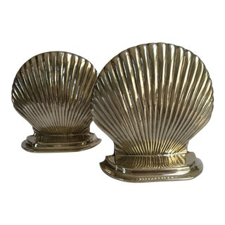 Mid-Century 1960s Solid Brass Nautical Shell Shaped Bookends - a Pair For Sale