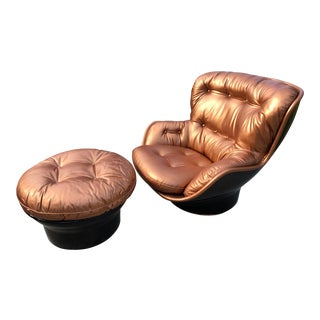 1960s Modern Michael Cadestin Airborne French Lounge Chair and Ottoman - 2 Pieces For Sale