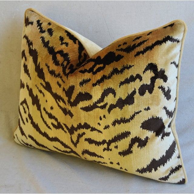 "Scalamandre Le Tigre Tiger Silk Velvet Feather/Down Pillow 23"" X 18"" For Sale In Los Angeles - Image 6 of 8"