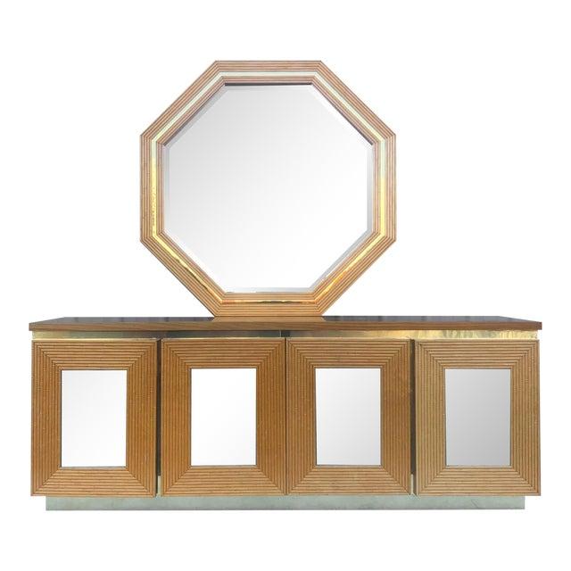 Vintage Boho Bedroom Dresser With Mirror For Sale