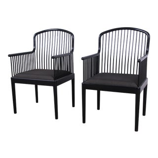 Stendig Andover Black Spindle Armchairs, Pair For Sale