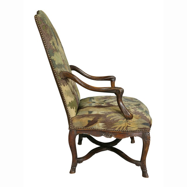 Regency Walnut and Tapestry Armchair For Sale - Image 9 of 12