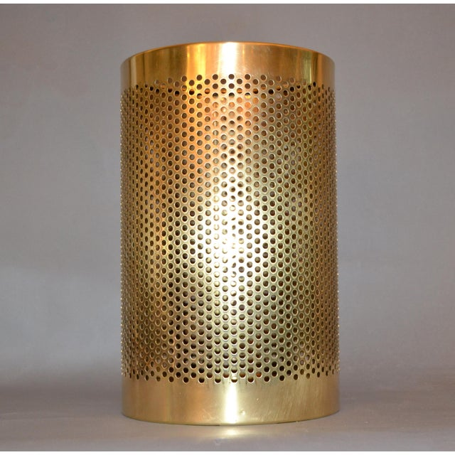 Vintage Italian Frontgate Brass Perforated Trash Waste Basket For Sale - Image 4 of 13
