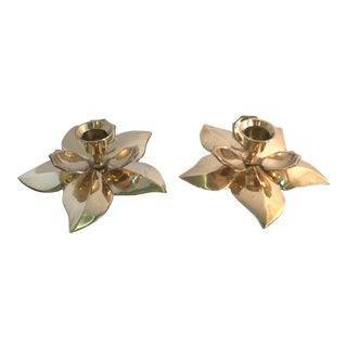 20th Century Hollywood Regency Flower Shaped Brass Candle Holders - a Pair For Sale