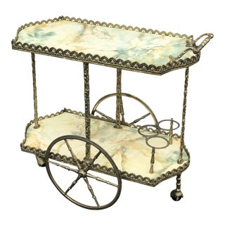 20th Century Peruvian Brass Bar Cart For Sale
