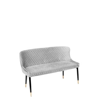 Merlin Diamond Upholstered Settee Bench in Gray For Sale