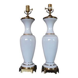 1960s Vintage Paul Hansen Gold/White French Opaline Table Lamps - A Pair For Sale