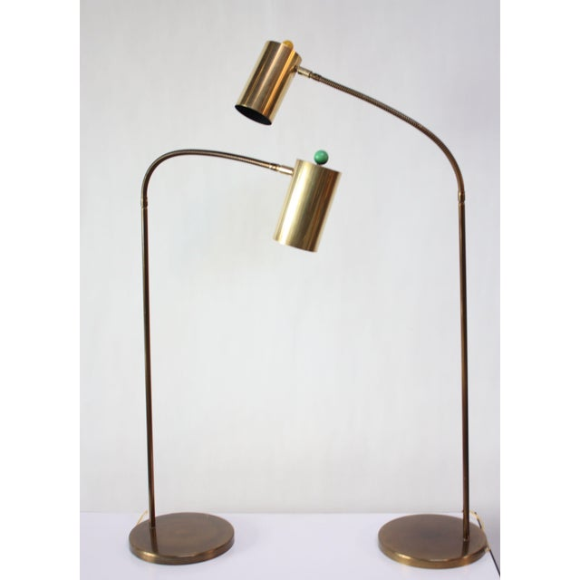 Mid-Century Modern Pair of Brass Gooseneck Floor Lamps by Koch and Lowy For Sale - Image 3 of 12