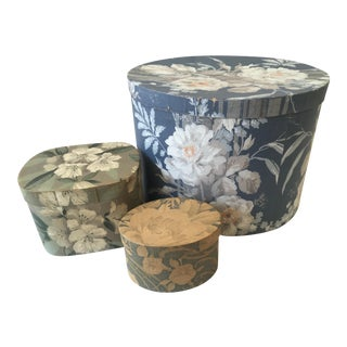 Antique Floral Wallpapered Decorator Boxes - Set of 3 For Sale