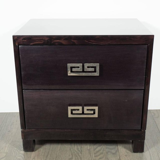 1950s Pair of Mid-Century Greek-Key Nightstands or End Tables with Greek Key Pulls For Sale - Image 5 of 9